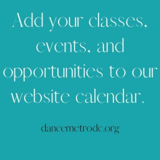 Our weekly e-Blast went out yesterday and we're excited to highlight new classes and events!  - @brittajoypeterson is looking for a Stage Manager - @born_2_dance_adults Studio has a new Brazilian Zouk class on Sundays - @thelionsdendmv is offering Afro Pop on Monday night - @misakoballet has a new For Fun Ballroom dance class on Wednesdays - This Wednesday and Saturday is BREAD with @clancyworks Dance Company - Isadora Duncan technique on Tuesdays with @worddancetheater  - @marylandyouthballet will be holding FREE West African trial classes on Wednesdays  - @capitolmovement is offering a FREE youth hip hop class on Friday - @georgemasonu will be hosting a family friendly arts event on Saturday  Submit your classes and events to our calendar by clicking on the link in our bio  Sign up for our newsletter by clicking the link in our bio
