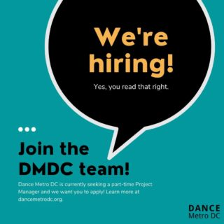 Dance Metro DC is hiring and we want YOU to apply! We are currently seeking a motivated, enthusiastic, and self-starting individual with communications experience for a part-time Project Manager position. If you love the DC dance community and want the opportunity to serve it, then this is the job for you. To learn more about the responsibilities of this position and/or to apply, click the link in our bio. Don't wait, APPLY TODAY! The job posting will close on Wednesday, September 30th. ✨ • • • #dcdance #dancemetrodc #202creates