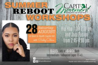 DMDC Member announcement!  Capitol Movement is back with its REBOOT workshop Series!  4 amazing classes in hip hop, contemporary and jazz fusion taught by 2 industry leaders for 2 dates only!  Registration is in advance at capitolmovement.org Message @CapitolMovement  with any questions