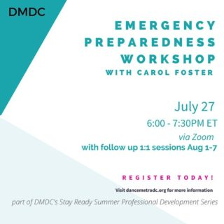If you haven't registered for our Emergency Preparedness Workshop, now's the time! Carol is one of four Performing Arts Readiness Consultants in the Nation and she's facilitating this free and virtual event.  In this JULY 27 workshop we'll learn all the ways we can withstand the effects of emergencies, disaster, and the unthinkable.  To register, click the link in the bio.