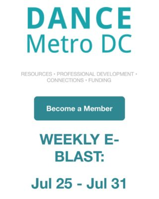 Our weekly-Blast is in your inbox! And if it isn't, you can sign up for it by clicking the link in our bio!  New jobs posted from @danceplacedc, @thewashingtonschoolofballet, @marylandyouthballet, @bethesdadance, and @danceexchange!  Classes and events include: - West African dance class with @nidembaya  - Outdoor hip hop with @avadanceco - Dance On with @danceexchange - Afro-Brazilian with @joyofmotiondancecenter - yoga with @thelionsdendmv - An intimate conversation about Black dancing bodies presented by Dr. Vanessa L. Jackson in partnership with @clancyworks.   Connect with us and dance with our members by exploring our website at dancemetrodc.org! (Link in our bio)