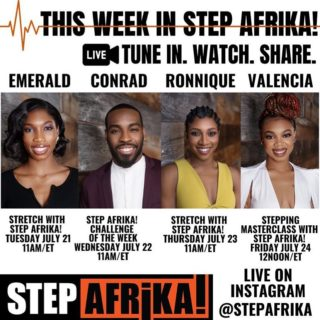 You still have two more chances to join Step Afrika! this week and we'd hate for you to miss it. Especially tomorrow's FREE master class with Valencia! See below for more details ✨ • Repost from @stepafrika  • #THISWEEKINSTEPAFRIKA • JOIN US ON #INSTAGRAMLIVE ! . . TUESDAY JULY 21 • 11am/et • Take a break and join us for Stretch with Step Afrika! with Emerald (@em_the_gem__). . . WEDNESDAY JULY 22 • Our #StepAfrikaChallenge is BACK with our own Conrad (@thereal_conrad ), Vincent (@vince_junior) and Ajah (@its_onlyace) and we CAN NOT wait to see your videos! . . THURSDAY JULY 23 • 11am/et • We're back with our Stretch with Step Afrika! with Ronnique (@ronnique____antoinette ). 😙 You know you should be stretching everyday right? 🙃 . . FRIDAY JULY 24 • 12pm/et • Join our Stepping With Step Afrika! Masterclass with Valencia (@marytatt3djane )*This class is for intermediate to advanced dancers.* . . 📣 #StepAfrikaChallenge videos DUE ON FRIDAY!! . . SATURDAY JULY 25 • 🎬#StepAfrikaChallenge videos debut on our instagram page!!! . . Every week we're bringing something NEW! And its #FREE #Masterclass #dancing #monday #tuesday #thursday #friday  #ThisWeek #Quarantine #VirtualClass #dancersofinstagram #danceislove #tiktok #tiktokdance #stepchallenge #dancechallenge #stepper #stretchingexercises #swipe #stretching #morningvibes #morningmotivation #dcartist #StretchClass #step #ThisWeekInStepAfrika #StepAfrika